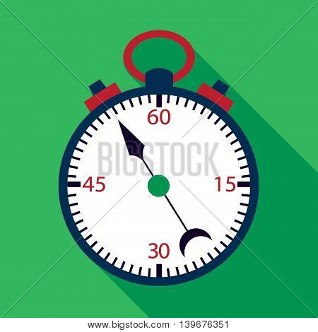 Stopwatch flat icon over green. Vector illustration of measuring tool.
