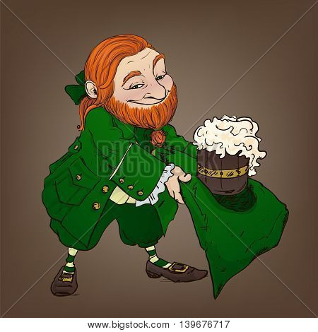 Red leprechaun with beer. Funny cartoon character for St. Patrick's Day.