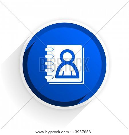 address book flat icon with shadow on white background, blue modern design web element