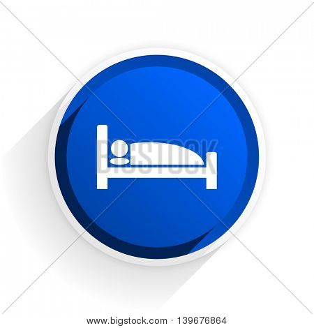 hotel flat icon with shadow on white background, blue modern design web element