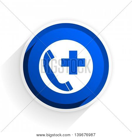 emergency call flat icon with shadow on white background, blue modern design web element
