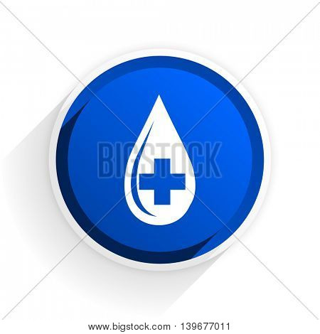 blood flat icon with shadow on white background, blue modern design web element