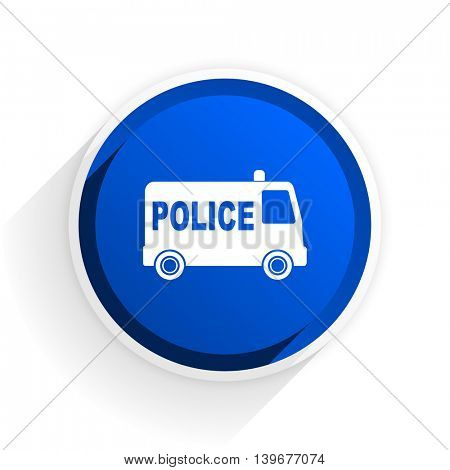 police flat icon with shadow on white background, blue modern design web element