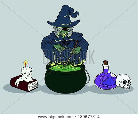 Illustration of the witch making a potion