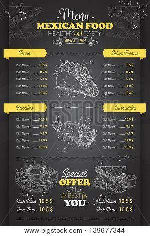 Drawing vertical scetch of mexican food menu design on blackboard