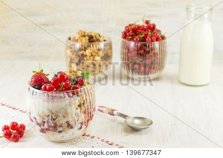 Granola Parfait With Berry Fruit And Cream.