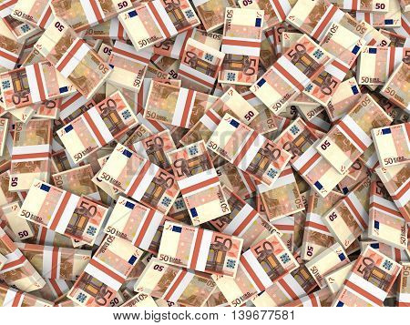 A lot of fifty euro banknotes background. 3D illustration.