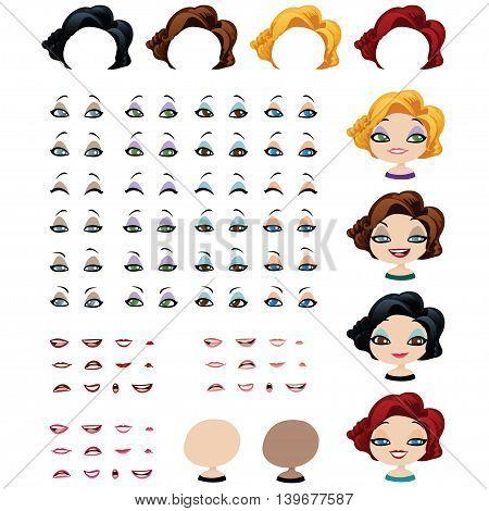 Fashion female avatars. Set of expressions. Graphic elements for self-generation of avatars.