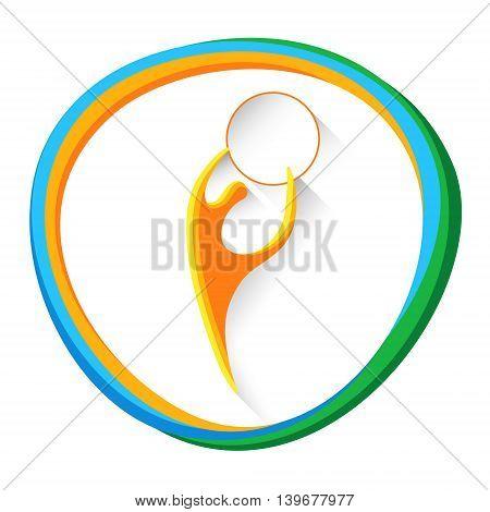 Artistic Gymnastics Athlete Sport Game Logo Competition Icon Vector Illustration