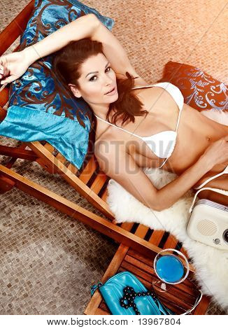 Woman relaxing on vocation, luxury vacation