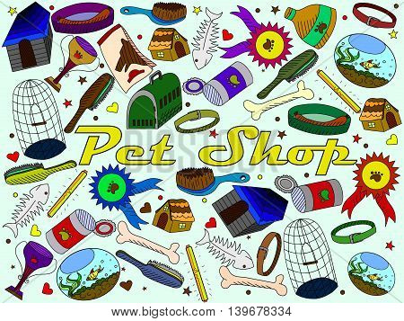 Vector line art Doodle set of cartoon characters and objects pet shop.