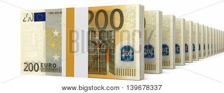 Stacks Of Money. Two Hundred Euros.