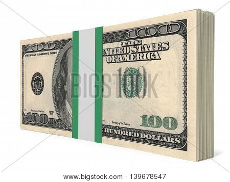 Pack Of Banknotes. One Hundred Dollars.
