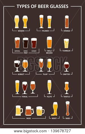 Beer glasses types guide. Beer glasses and mugs with names. Vector illustration in flat style.