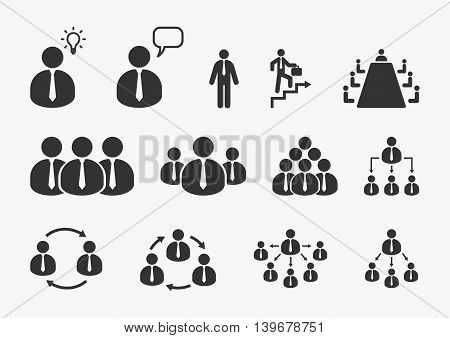 Businessman icons vector set. Office, business, management and human resource