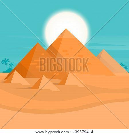 Desert View Egypt Pyramids Sunset Flat Vector Illustration