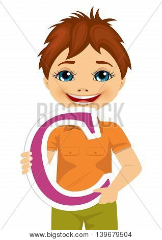 little boy holding the c letter isolated on white background