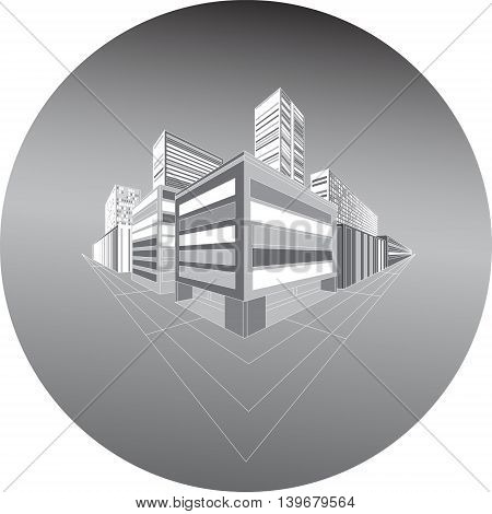 Night schematic city in perspective. vector illustration.