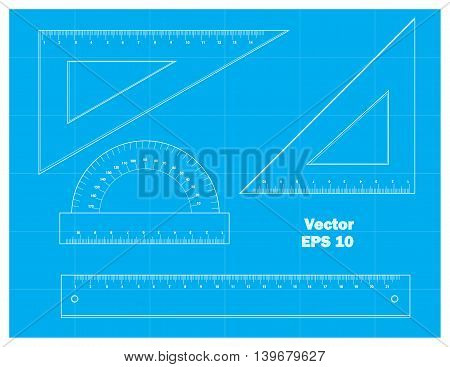 schematic drawing tools, vector illustration.On blue background.