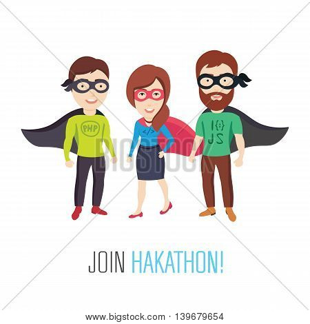 Conceptual Vector Illustrations of a Group of Computer Specialists as Heroes