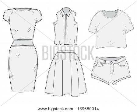 Women's Clothing set sketch. Clothes hand-drawing doodle style. Women's clothes vector illustration.