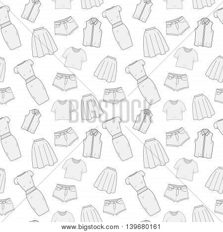 Women's Clothing seamless pattern sketch. Clothes hand-drawing doodle style. Clothing background. Women's clothes vector illustration.