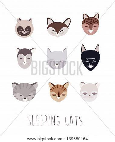 Vector Set of Sleeping Cat Heads. Flat Style Illustartions.