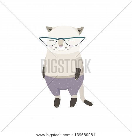 Vector Illustration of a Cat Character in Sunglasses and Trousers
