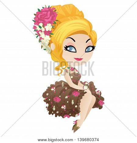 Cute cartoon character pretty blonde in style Shabby Chic. Vector illustration.