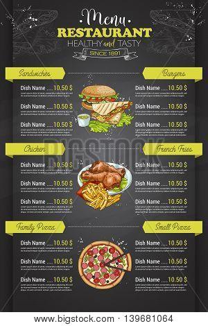 Restaurant vertical color menu design on blackboard. Vector illustration, EPS 10