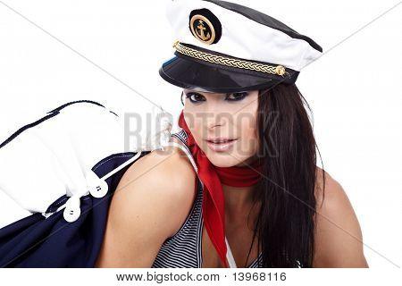 20-25 years old beautiful woman wearing sailor hat