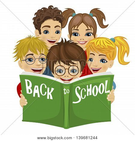 Group of kids reading green book with back to school text on white background