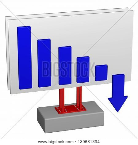 Concept: Recession. Billboard with chart and arrow isolated on white background. 3D rendering.