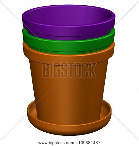 Flower pots isolated on white background. 3D rendering.
