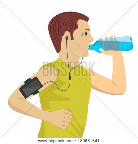 male runner listening to music on smartphone drinking water isolated on white background
