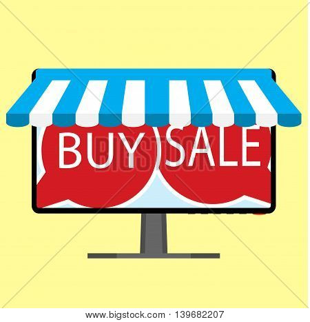 Sale and buy online. Shopping and marketing shop and promotion with awning vector illustration