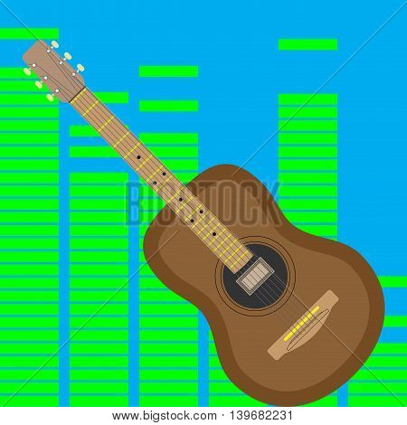 Acoustic guitar isolated. Music rock. Vector illustration