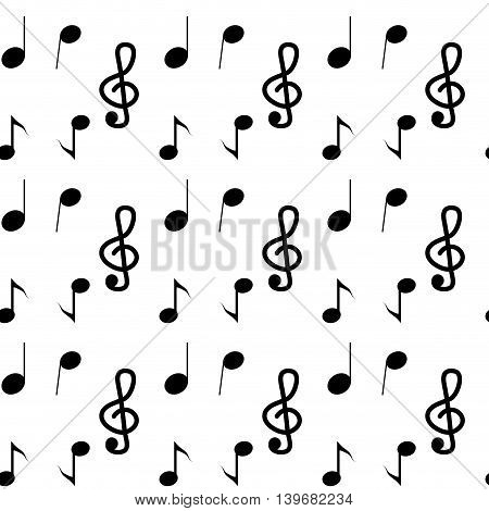 Music seamless pattern note. Musical notes design and sound melody with treble clef vector illustration