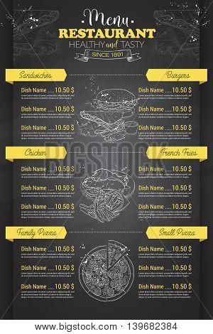 Restaurant vertical scetch menu design on blackboard