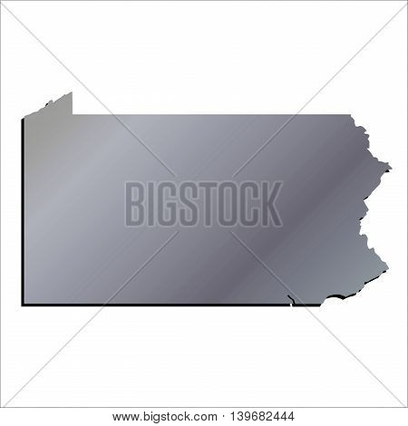 3D Pennsylvania State Aluminium outline map with shadow