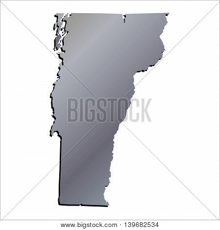 3D Vermont (USA) Aluminium outline map with shadow