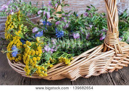 Meadow flowers in a wicker basket on a wooden table.