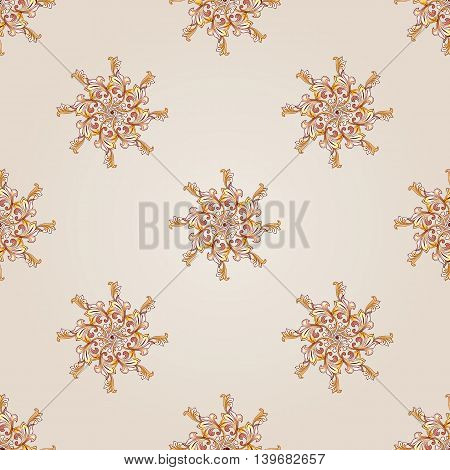 Seamless floral same elements of brown henna on beige background