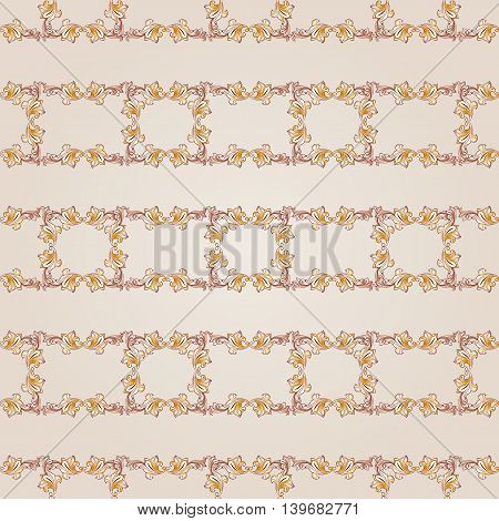 Seamless floral gorizontal line pattern of brown henna on beige background