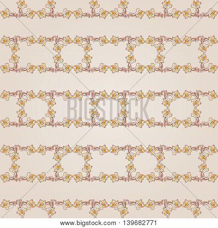 Seamless floral gorizontal line pattern of brown henna on beige background