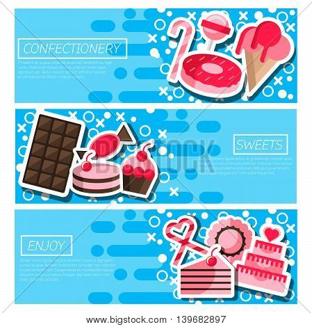Set of Horizontal Banners about confectionery. Vector illustration, EPS 10