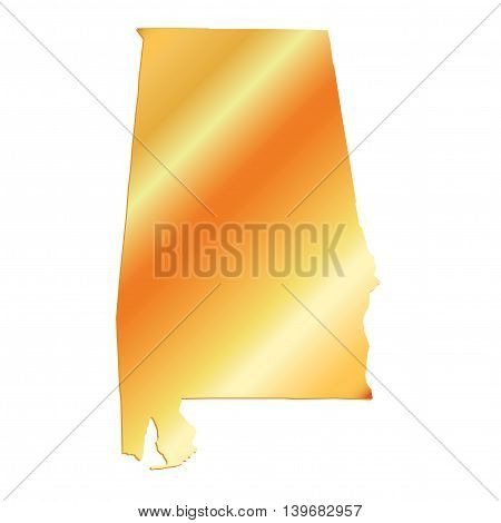 3D Alabama (USA) Gold outline map with shadow