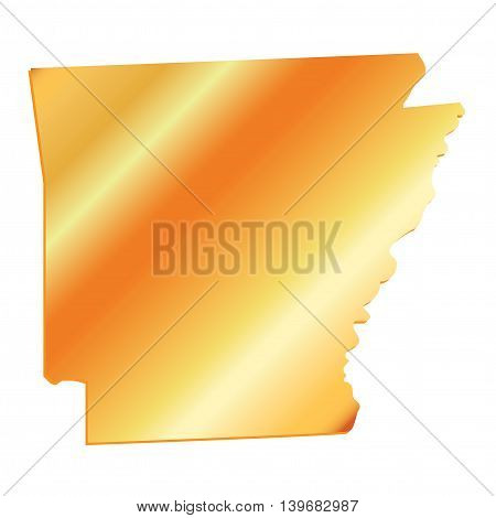 3D Arkansas (USA) Gold outline map with shadow