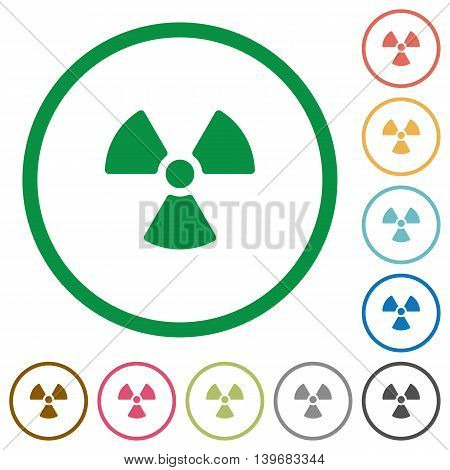 Set of radiation color round outlined flat icons on white background