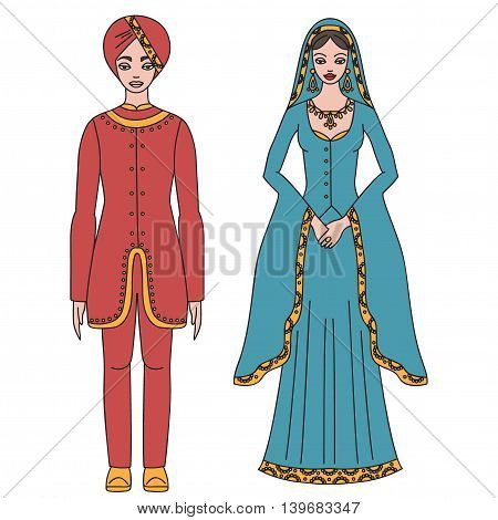 Traditional turkish clothing, national middle east cloth, man and woman sultan costume isolated, turkish dress outline